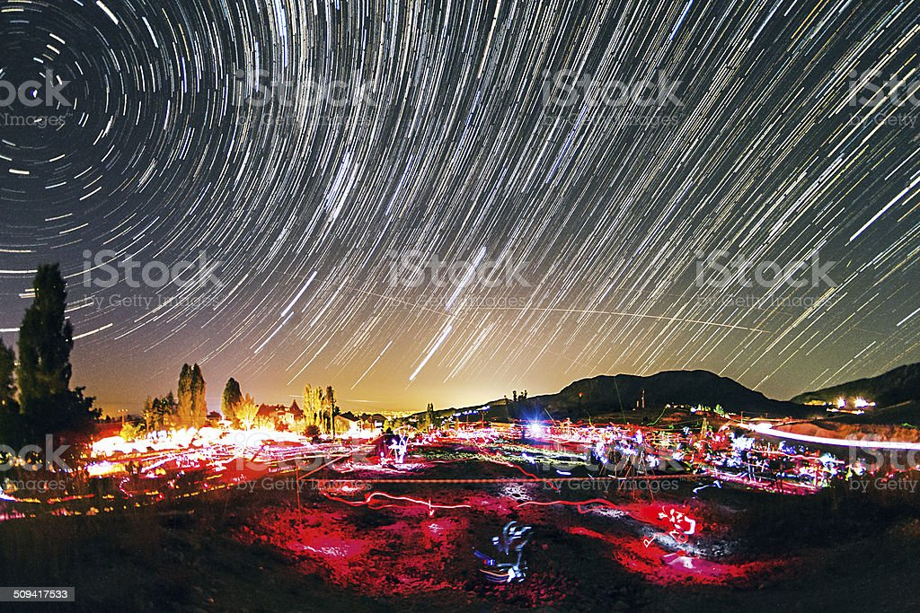 Starfest under the star trails royalty-free stock photo
