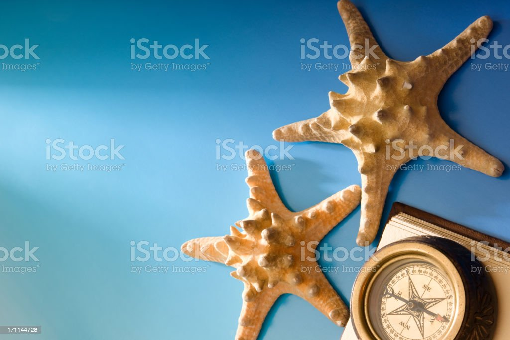 Starfish and Compass royalty-free stock photo