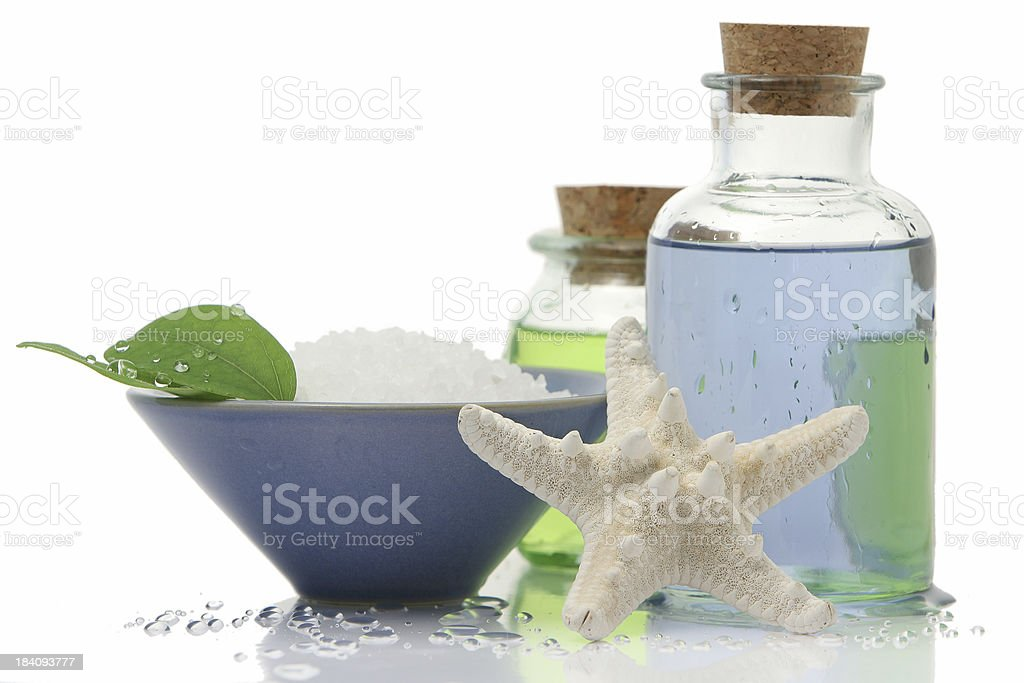Starfish and leaves royalty-free stock photo