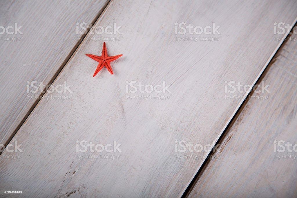 Starfish and shells on the beach stock photo