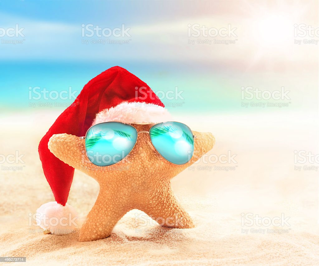 starfish in a santa hat and sunglasses stock photo