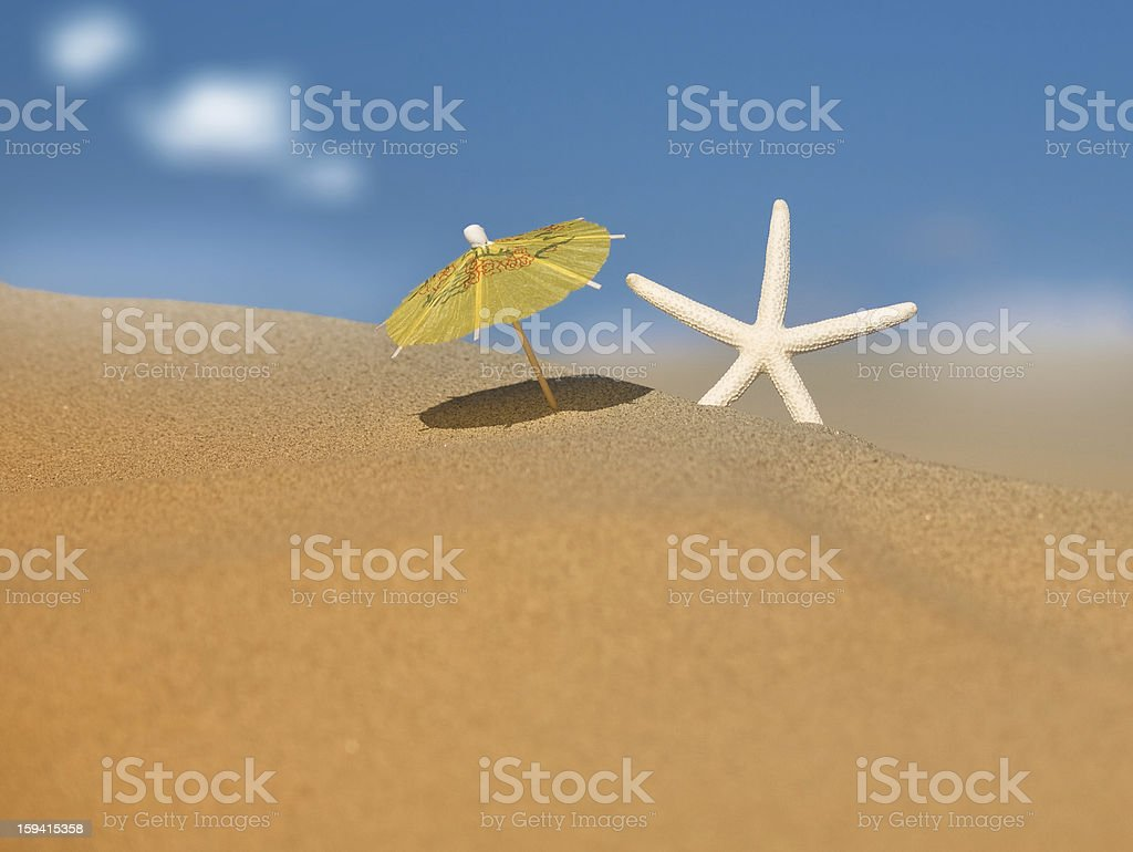 Starfish under umbrella on the beach royalty-free stock photo