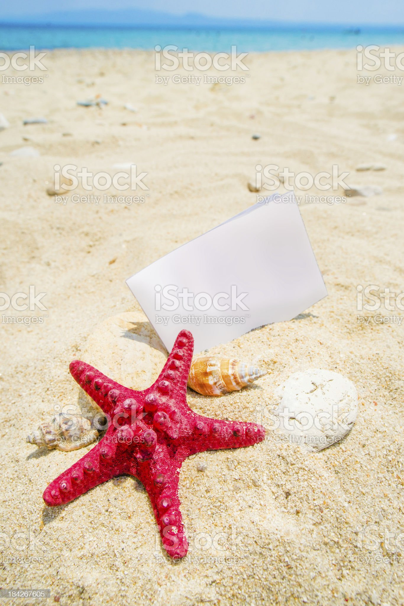 Starfish with white paper note royalty-free stock photo