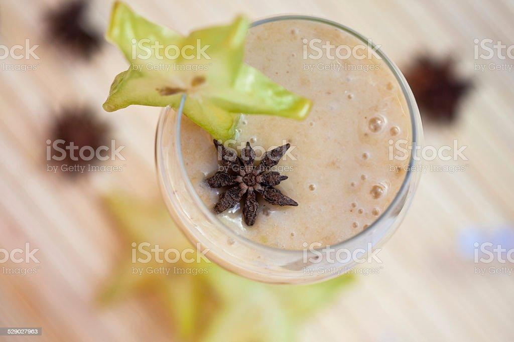 Starfruit and banana Christmas smoothie stock photo