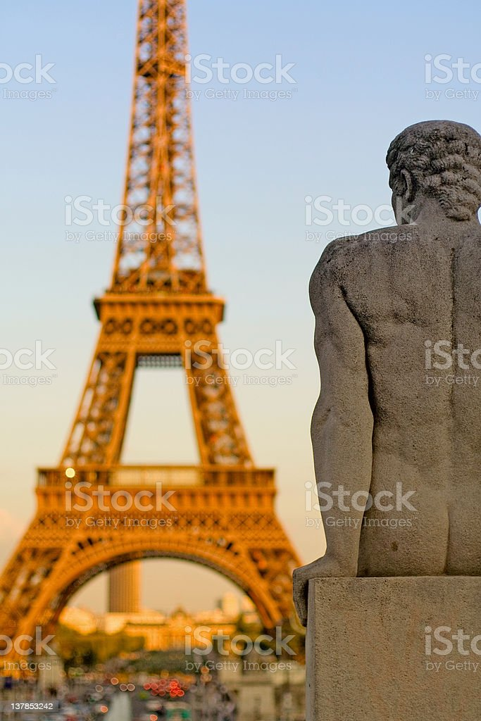 Staring at the Eiffel Tower royalty-free stock photo