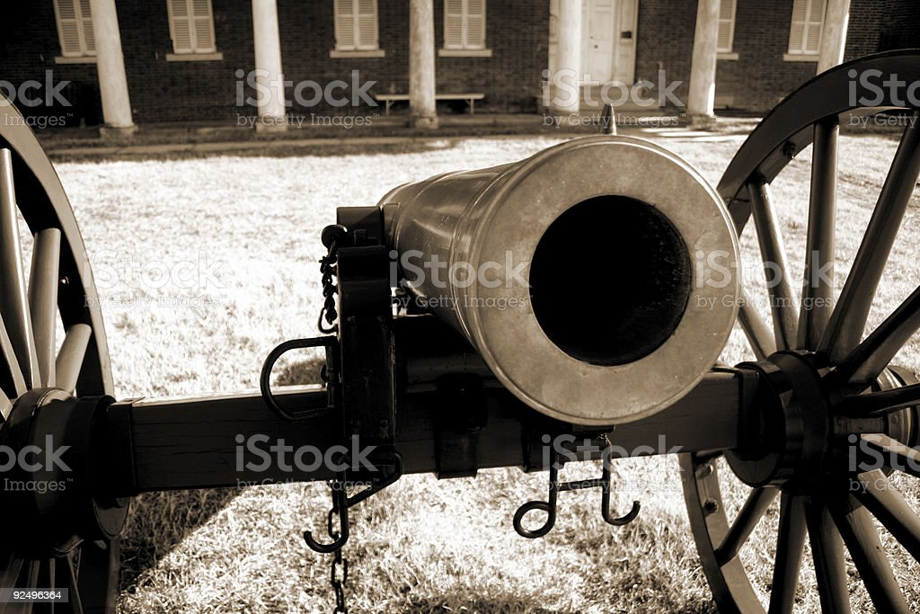 Staring down the barrel of history stock photo