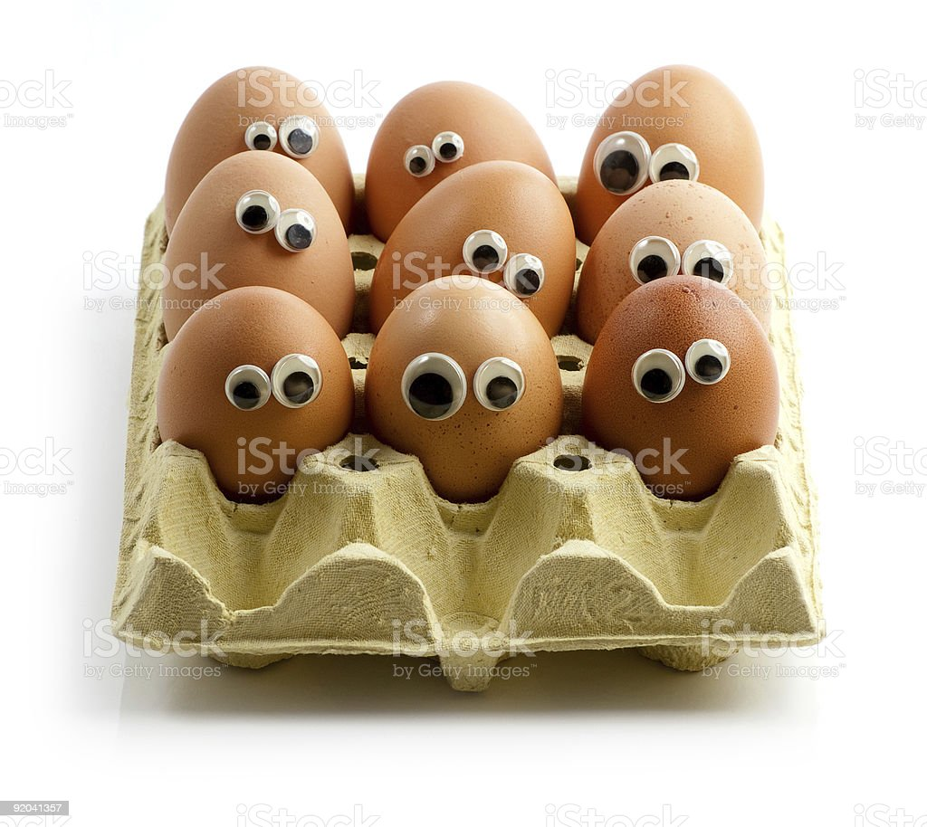 Staring eggs in a box royalty-free stock photo