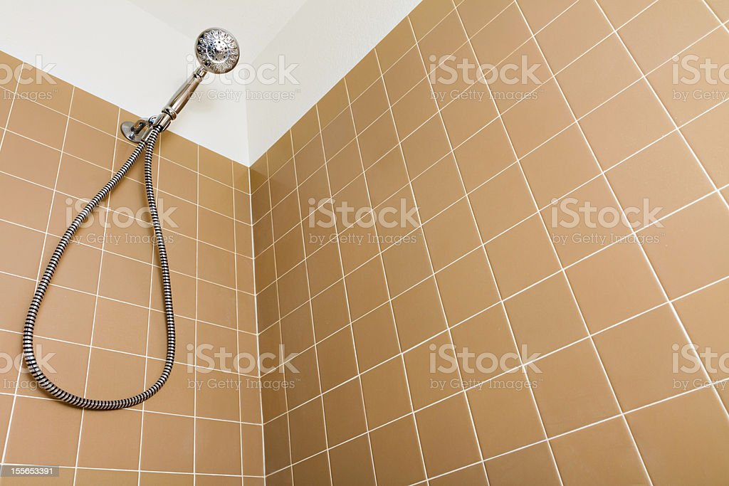 Staring up to the shower head royalty-free stock photo