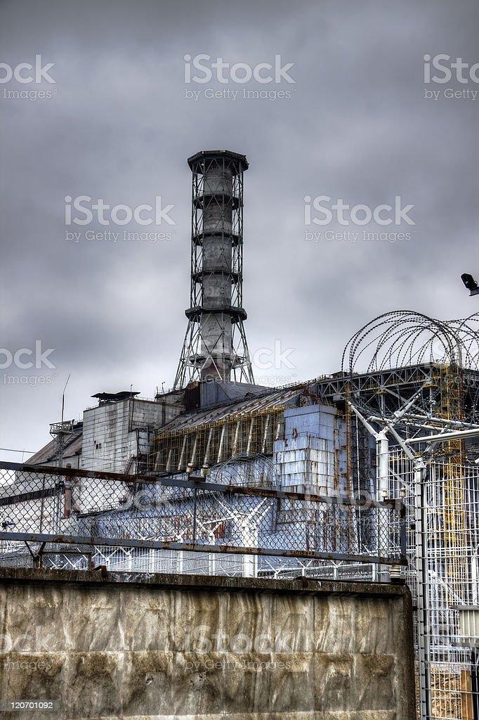 Stark photo of Chernobyl tower reactor stock photo
