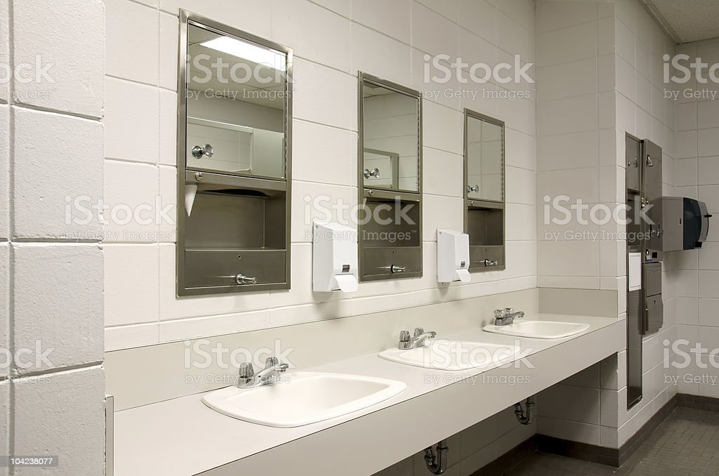 Stark public bathroom stock photo