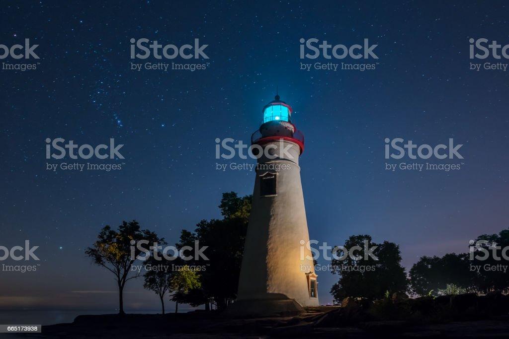 Starlight Marblehead Lighthouse in Ohio stock photo