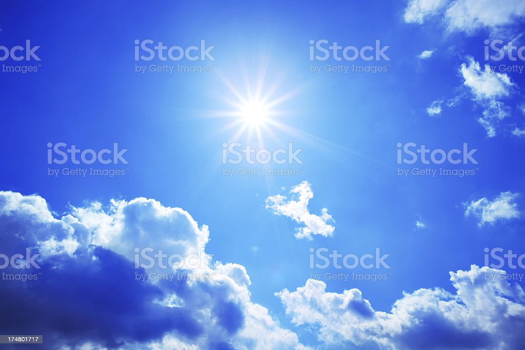 Star-like Sun shining on the Blue Sky royalty-free stock photo
