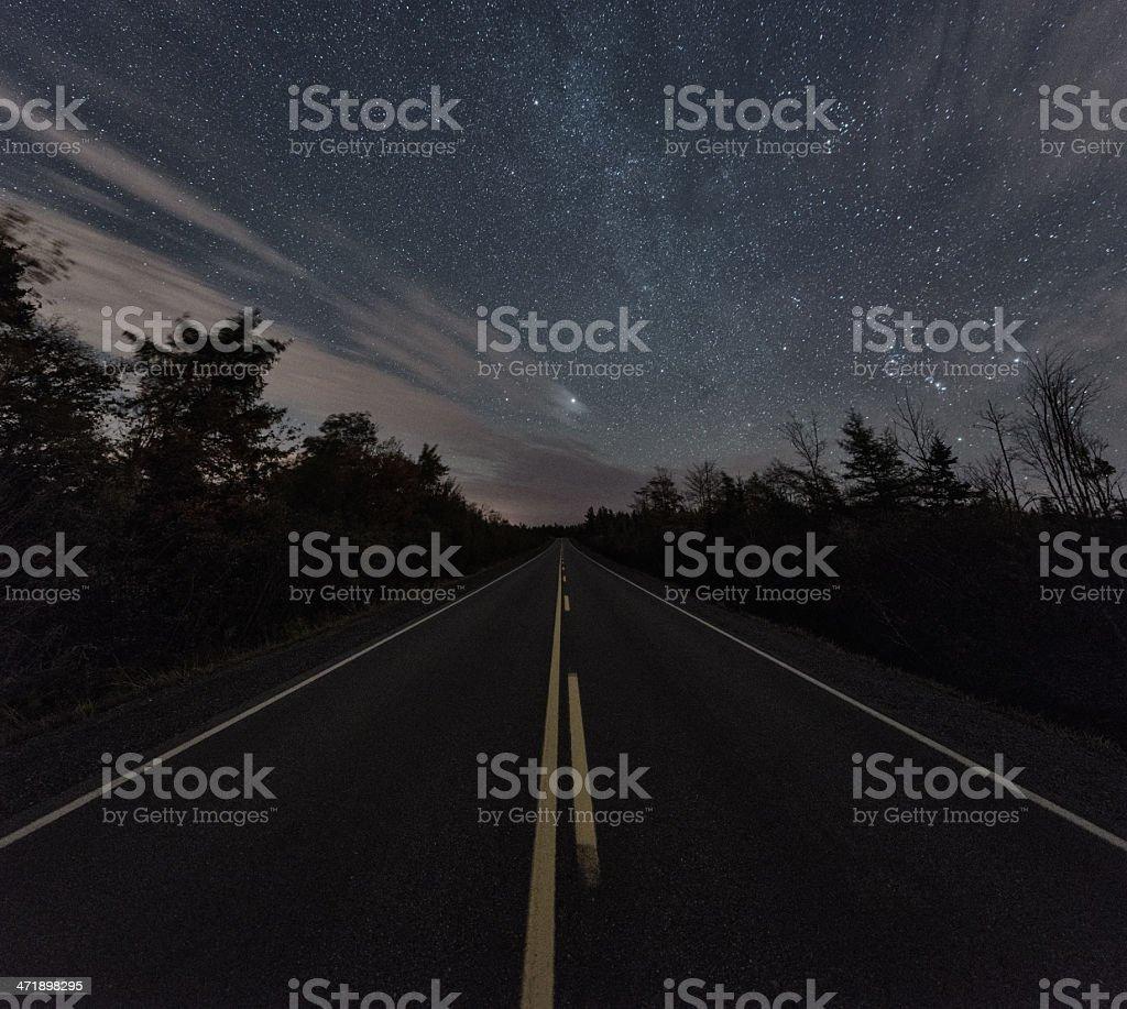 Starlit Road royalty-free stock photo
