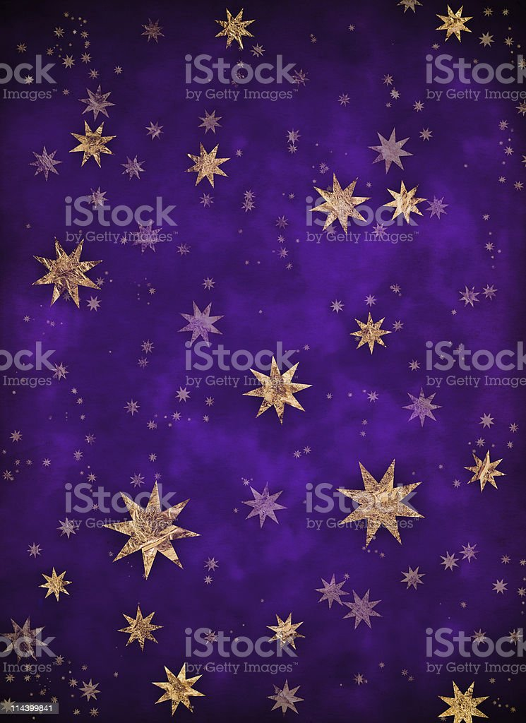 Starry Christmas background with gold foil stars royalty-free stock photo