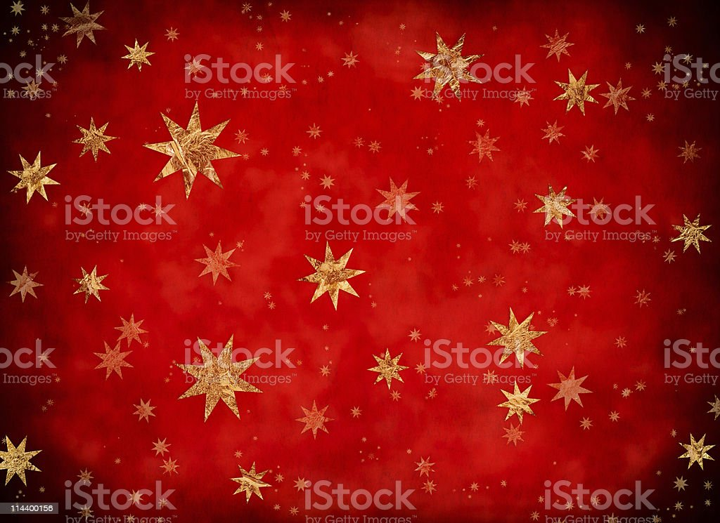 Starry Christmas background with golden stars part of a series stock photo