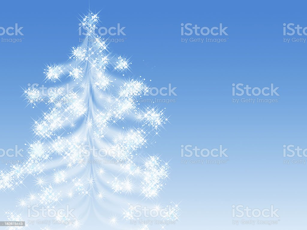 starry christmas tree stock photo