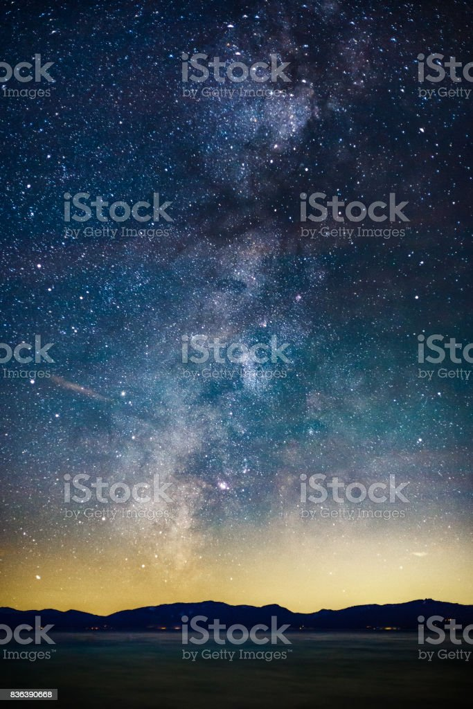 Starry Night and Milky Way above Lake Tahoe stock photo
