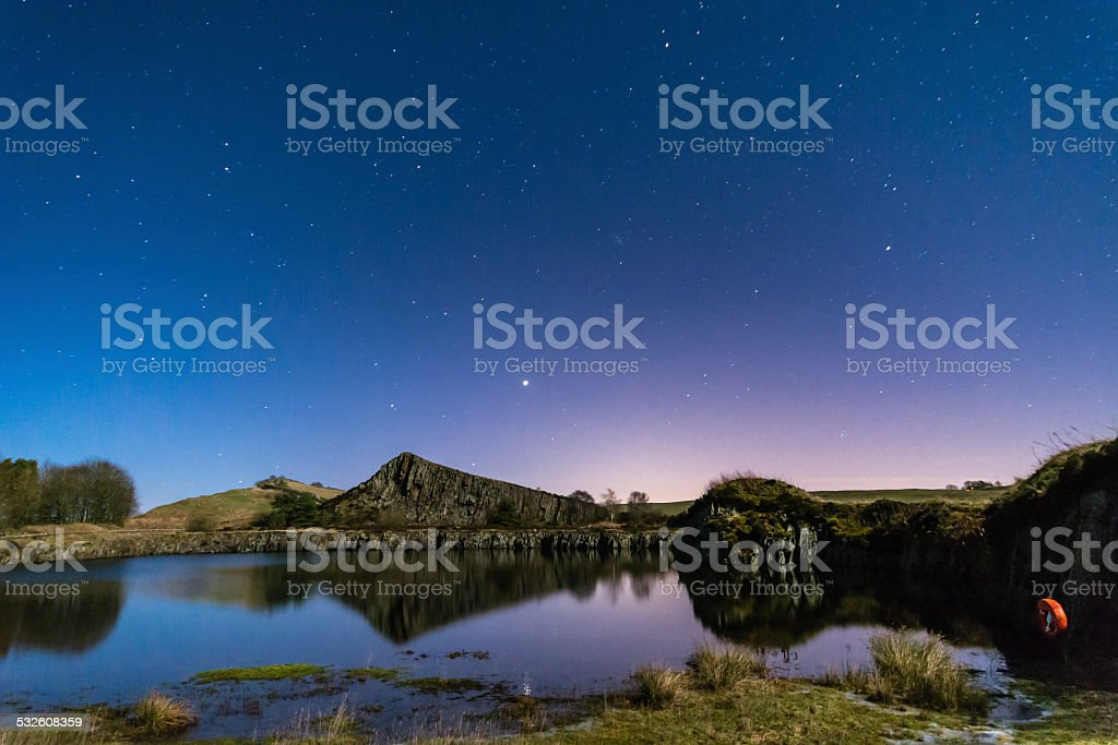 Starry Night at Cawfield Quarry stock photo