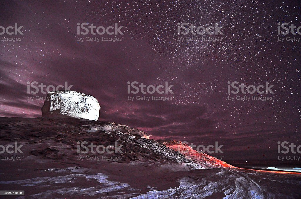 Starry night at Sahara Desert (White Desert) stock photo