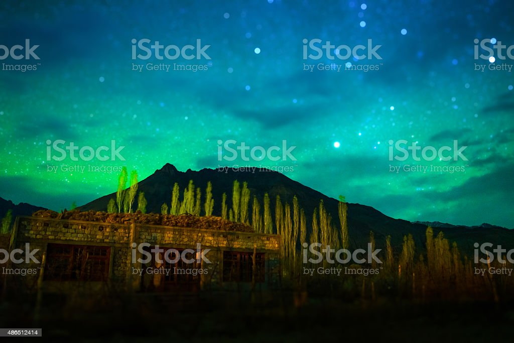 Starry night in Norther part of India stock photo