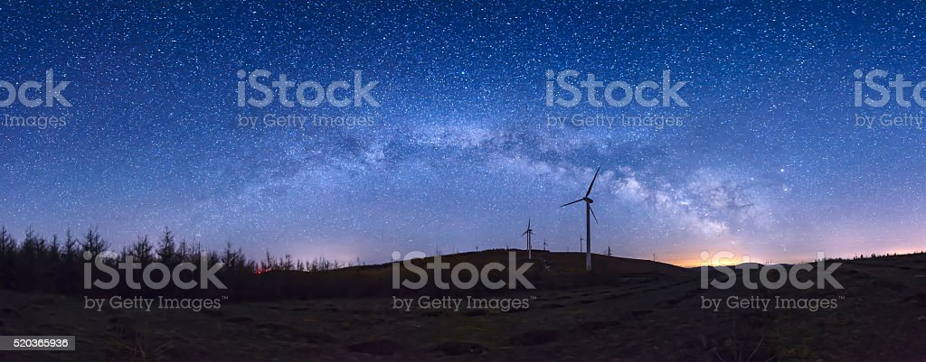 Starry night landscape stock photo