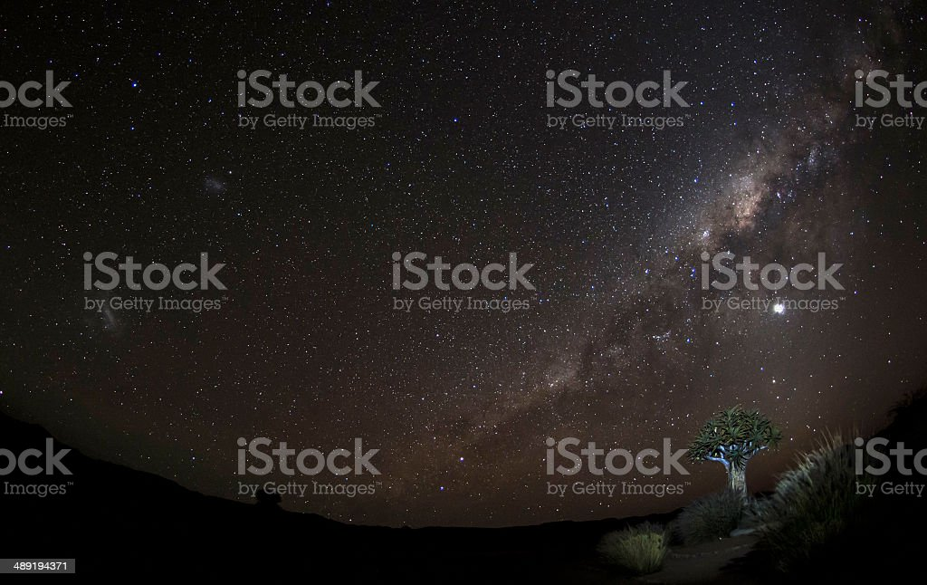 Starry night over Africa, Milky Way, Namibia stock photo