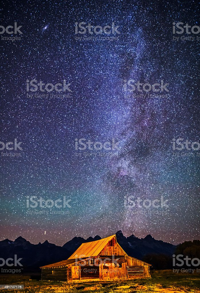 Starry night over Mormon Row Barn GTNP stock photo