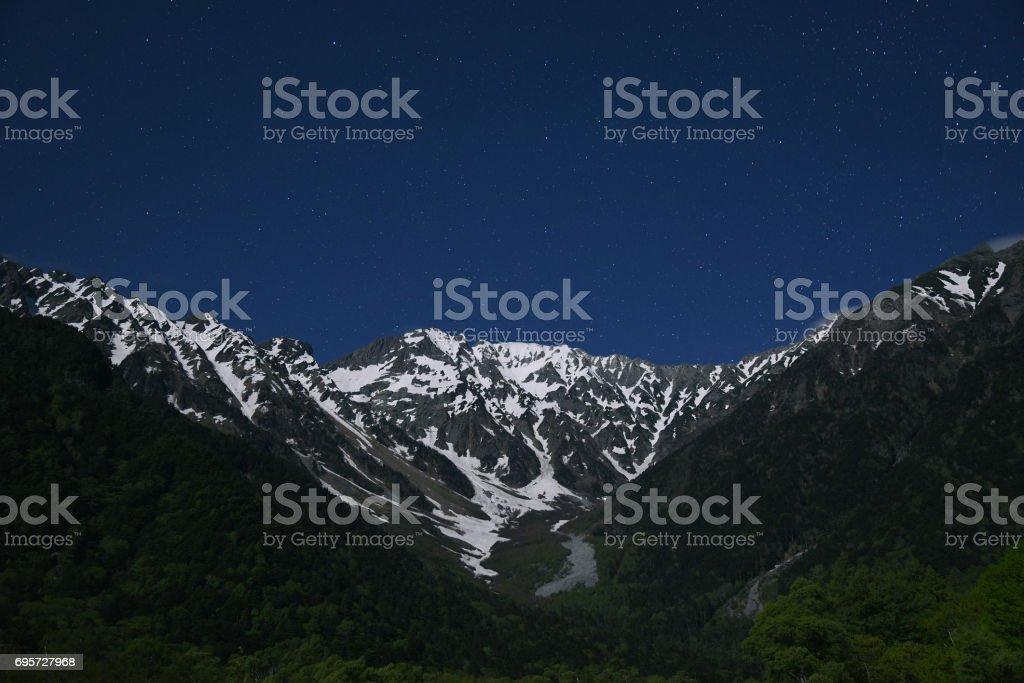 starry night over mountain stock photo
