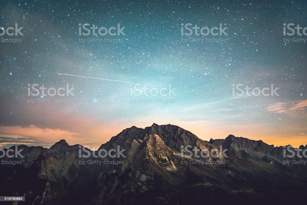 Starry night in mountains