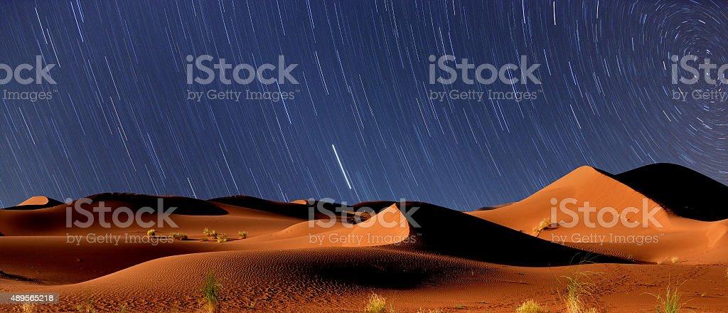 Starry night, Sahara desert stock photo