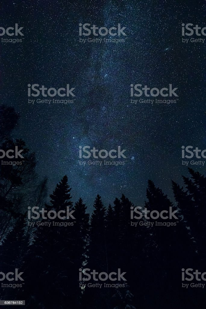 Starry night sky stock photo
