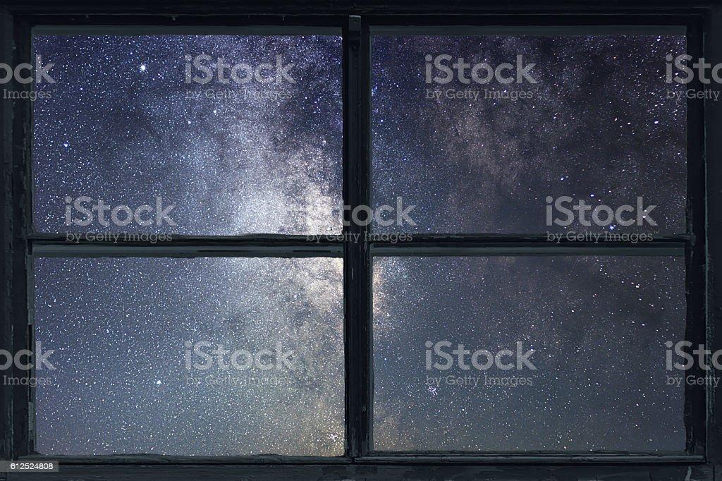 Starry night sky Window view. Milky Way Galaxy. stock photo