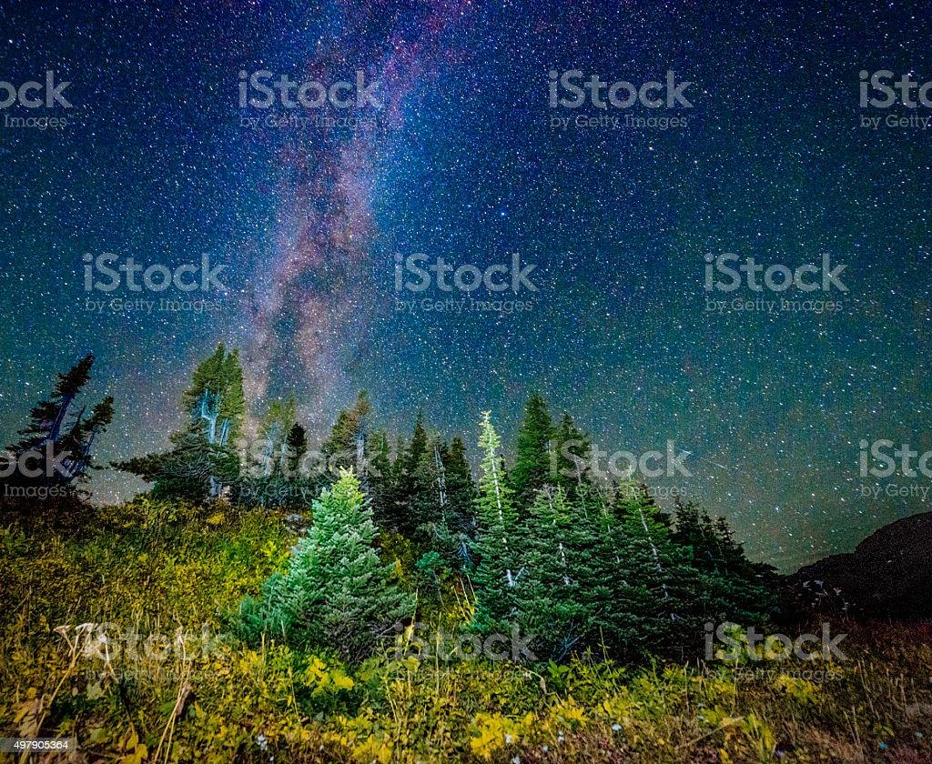 Starry Night View Glacier National Park Montana Logan Pass stock photo