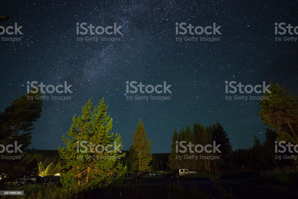 Starry night with Milky Way stock photo