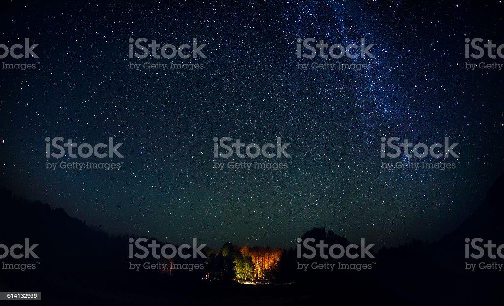 Starry night with Milky Way stock photo