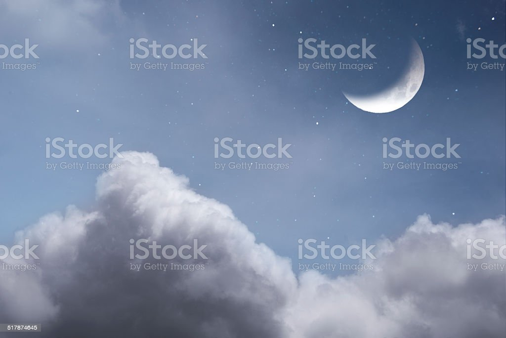 Starry Night With Mood and Clouds stock photo