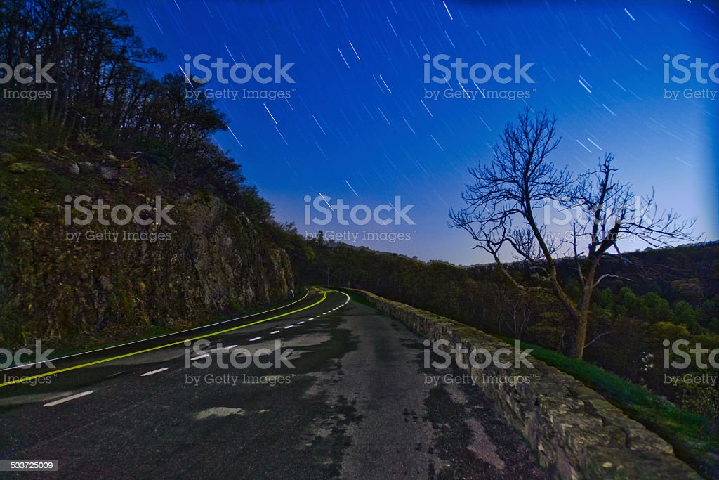 Starry Road stock photo