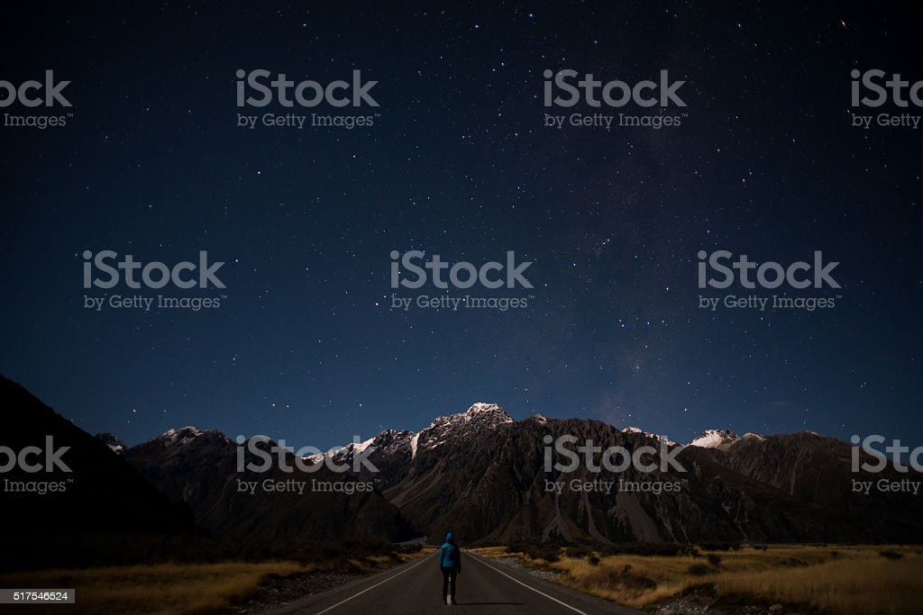 Starry Skies in Mount Cook National Park stock photo