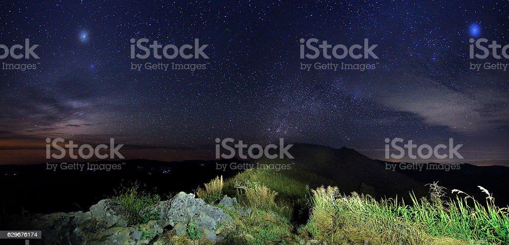 starry sky at night at Doi Pha Phung stock photo