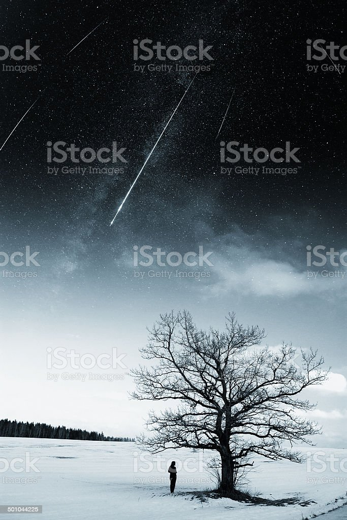 starry sky in winter stock photo