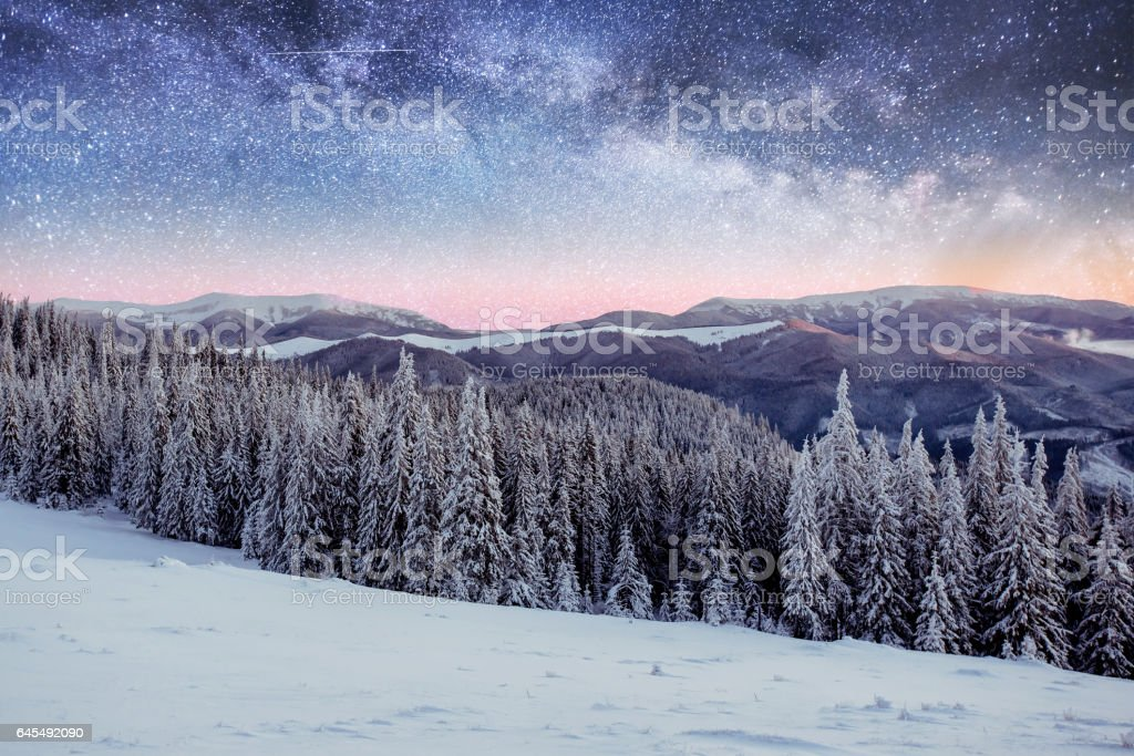 starry sky in winter snowy night. fantastic milky way in the New stock photo
