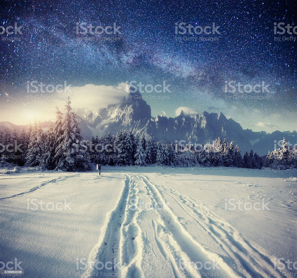 starry sky in winter snowy night. stock photo