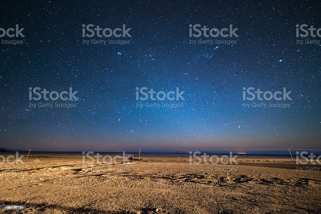 Starry sky on the desertic Andean highland, Bolivia stock photo