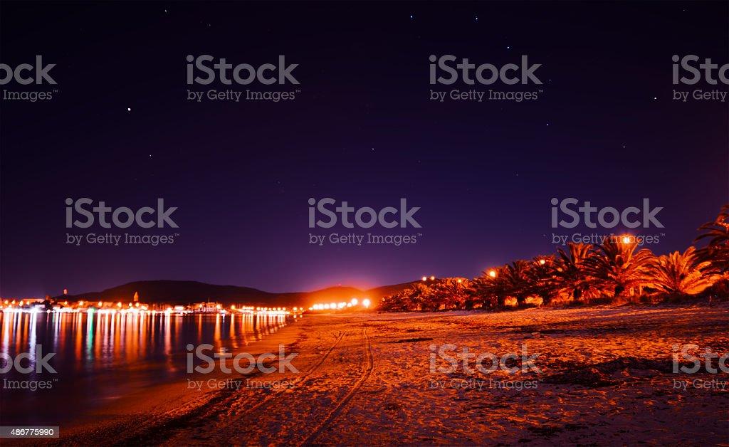 starry sky over Maria Pia beach at night stock photo
