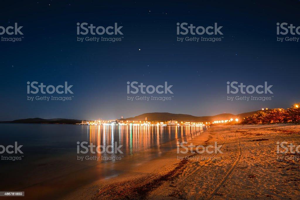 starry sky over Maria Pia beach, stock photo