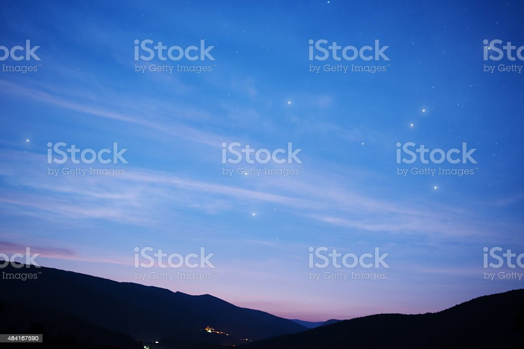 Starry sky over mountains stock photo