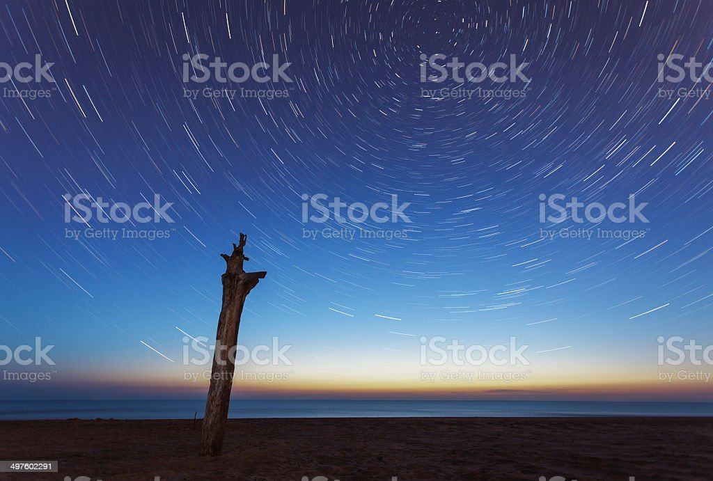 Starry sky over the sea royalty-free stock photo