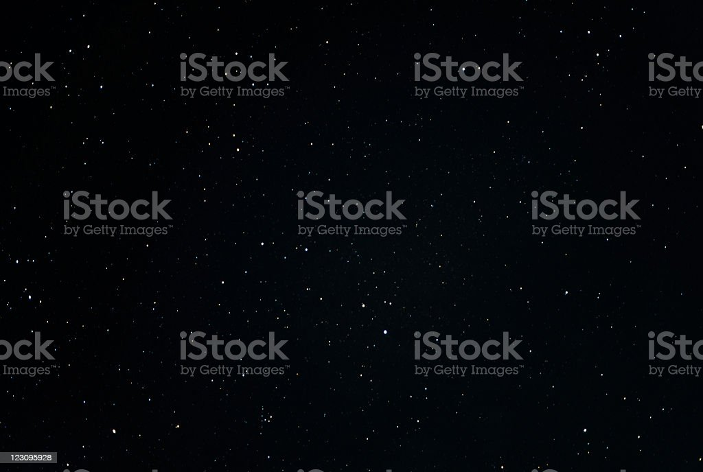 Starry Sky - Stars and constellations in the black night stock photo
