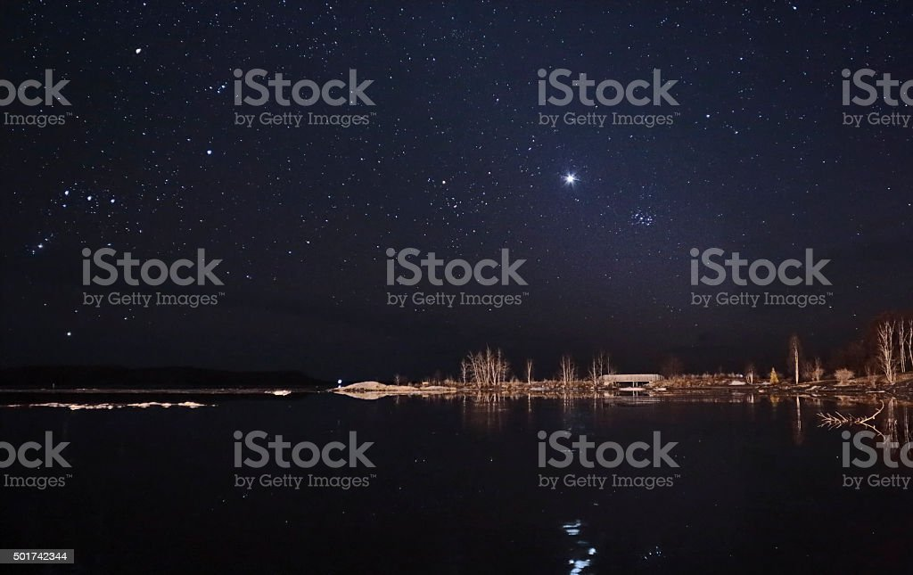 Starry Sky Venus Pleiades Orion and Tauras stock photo