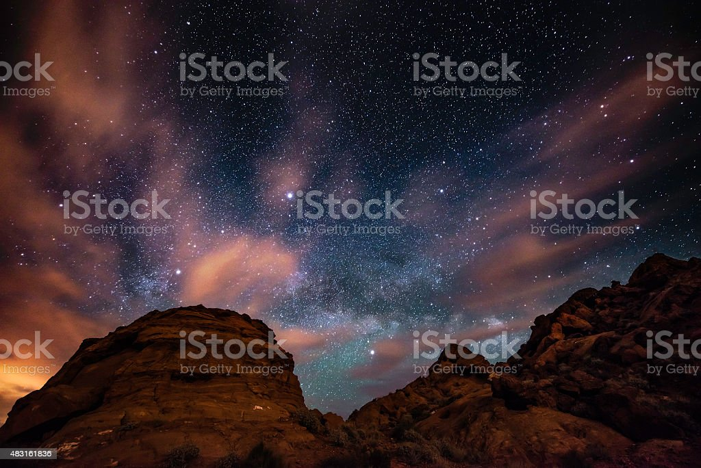 Starry sky with Rising Milky Way Valley of Fire stock photo